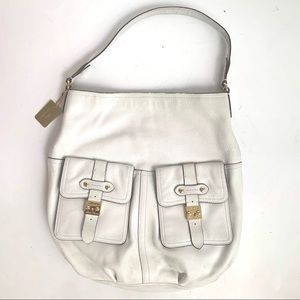 RALPH LAUREN WHITE LEATHER SHOULDER HOBO BAG